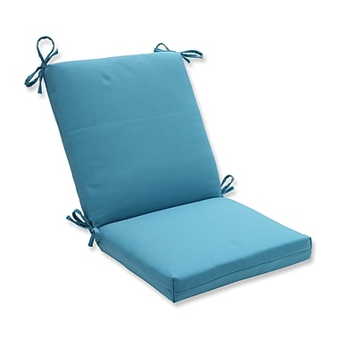 Pillow Perfect Tweed Dining Chair Cushion; Aqua