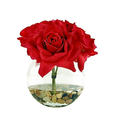 LCGFlorals Roses in a Flat Vase w/ River Rocks and Faux Water; 9'' H x 8'' W x 8'' D
