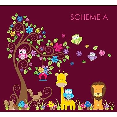 Wall Decal Source Swirly Tree, Jungle, Owl and Giraffe Nursery Wall Decal; Scheme A