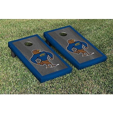 Victory Tailgate NCAA Onyx Stained Border Version Cornhole Bag Toss Game Set; Clarion Golden Eagles