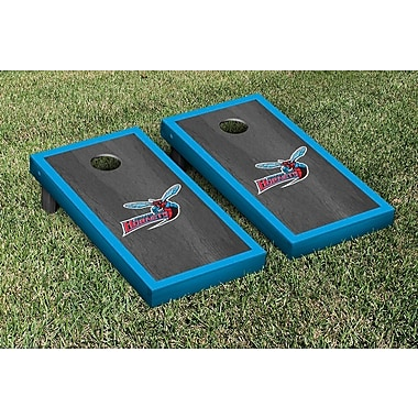 Victory Tailgate NCAA Onyx Stained Border Version Cornhole Bag Toss Game Set; Delaware State Hornets