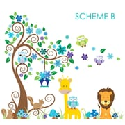 Wall Decal Source Swirly Tree, Jungle, Owl and Giraffe Nursery Wall Decal; Scheme B
