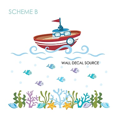 Wall Decal Source Boat, Bathroom and Fish Nursery Ocean Vinyl Wall Decal; Scheme B