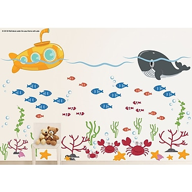 Wall Decal Source Submarine, Ocean, Whale, Fish and Crab Under the Sea Wall Decal; Scheme A