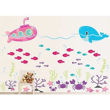 Wall Decal Source Submarine, Ocean, Whale, Fish and Crab Under the Sea Wall Decal; Scheme C