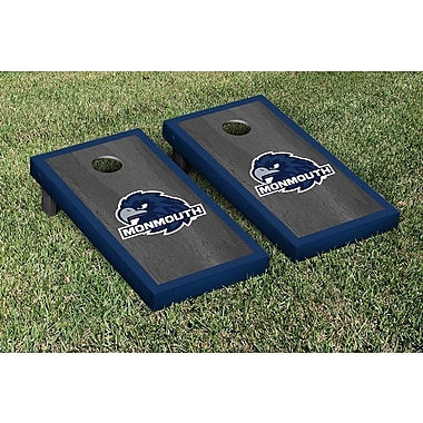 Victory Tailgate NCAA Onyx Stained Border Version Cornhole Bag Toss Game Set; Monmouth Hawks