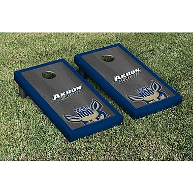 Victory Tailgate NCAA Onyx Stained Border Version Cornhole Bag Toss Game Set; Akron Zips