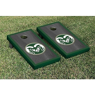 Victory Tailgate NCAA Onyx Stained Border Version Cornhole Bag Toss Game Set; Colorado State Rams