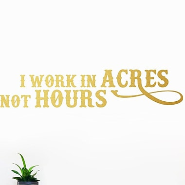 SweetumsWallDecals I Work In Acres Not Hours Wall Decal; Gold