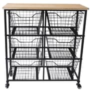 Cheungs 6 Wire Drawer Wood Top Storage Cabinet