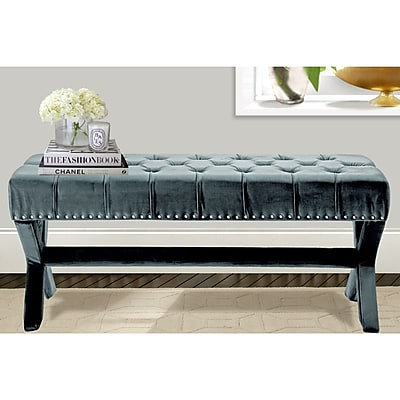 Iconic Home Neil Upholstered Bench; Slate Blue WYF078278938608