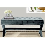 Iconic Home Neil Upholstered Bench; Slate Blue