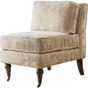 Iconic Home Gandhi Front Castered Leg Slipper Chair; Beige