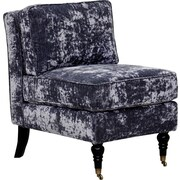 Iconic Home Gandhi Front Castered Leg Slipper Chair; Blue Gray