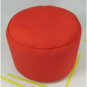 lava Sunbrella Round Pouf Ottoman; Logo Red