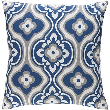 Artistic Weavers Trudy Blossom Cotton Throw Pillow Cover; Navy/ White
