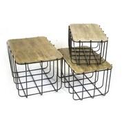Sagebrook Home 3 Piece Metal Storage Basket Set w/ Lids