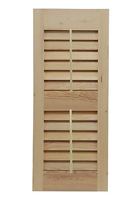 Shutters By Design Western Cedar Louvered Shutter w/ Faux Tilt Rod (Set of 2); 25'' H x 12'' W