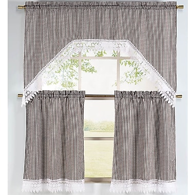 Sweet Home Collection Curtain Tier, Valance and Swag Set; Chocolate