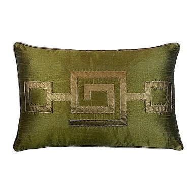 R&MIndustries Modern Greek Key Lumbar Pillow; Olive
