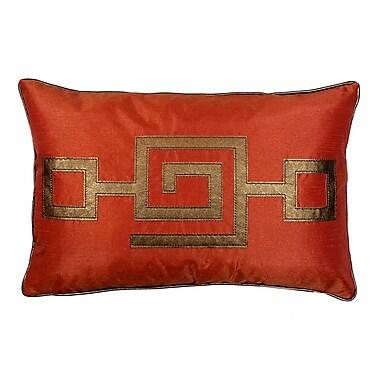 R&MIndustries Modern Greek Key Lumbar Pillow; Orange