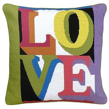 123 Creations LOVE Needlepoint Wool Throw Pillow