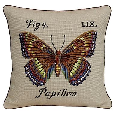 123 Creations Papillon Needlepoint Wool Throw Pillow