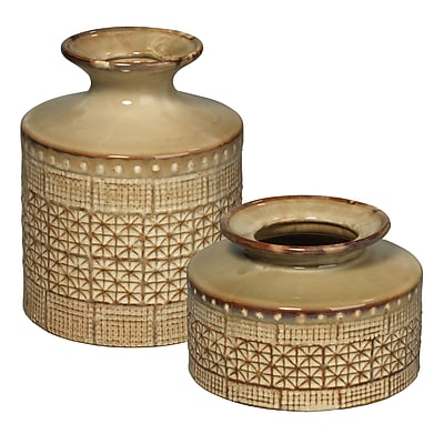 Jamie Young Company 2 Piece Astral Vase Set; Taupe