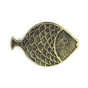 Handcrafted Nautical Decor Fish Decorative Plate; Antique Gold