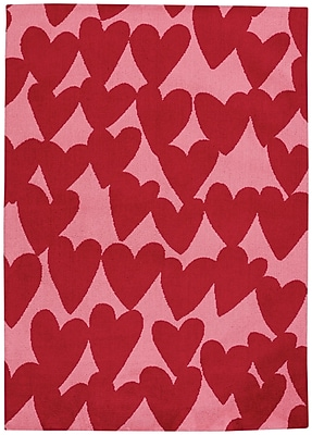 Capel Hable Construction Confectionary Valentine Machine Tufted Red/Pink Area Rug; 3' x 5'