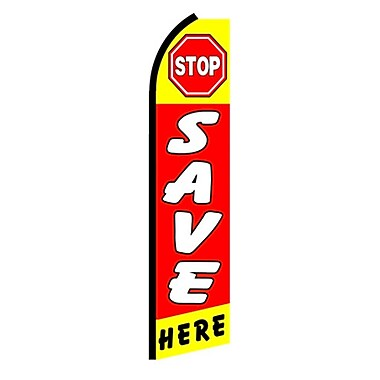 NeoPlex Stop Save Here Swooper Flag
