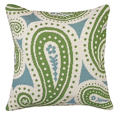 123 Creations Paisley Needlepoint Wool Throw Pillow; Green and Blue