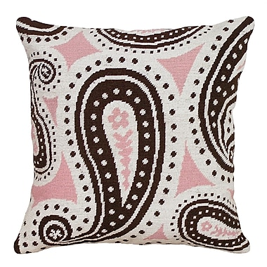 123 Creations Paisley Needlepoint Wool Throw Pillow; Pink and Brown