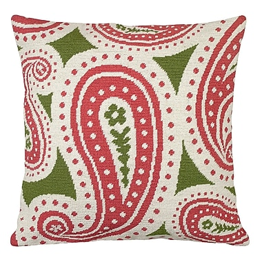 123 Creations Paisley Needlepoint Wool Throw Pillow; Pink and Green