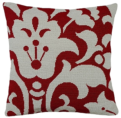 123 Creations Damask Foral Needlepoint Wool Throw Pillow; Red