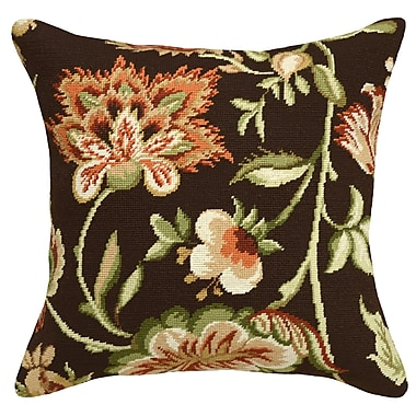 123 Creations Jacobean Floral Needlepoint Wool Throw Pillow; Brown