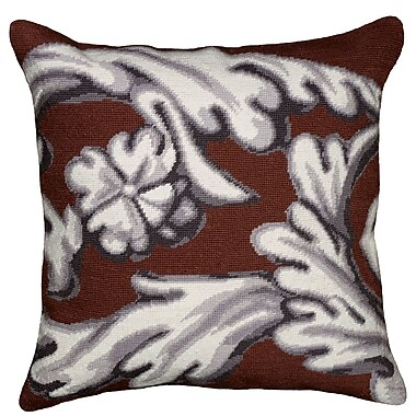 123 Creations Scroll Needlepoint Wool Throw Pillow; Brown