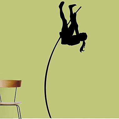 SweetumsWallDecals Pole Vaulter Wall Decal; Black