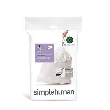 simplehuman® Custom Fit Garbage Bin Liners, White, Code C, 240/Pack (CW0252)