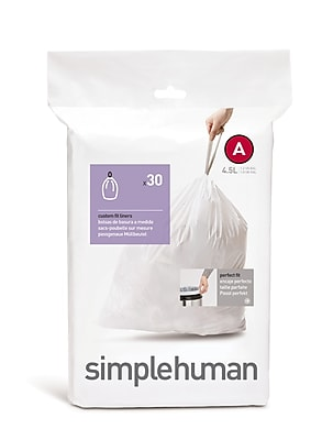 simplehuman Code A Custom Fit Trash Can Liner, (360 Count), 4.5 Liter / 1.2 Gallon