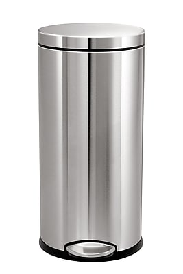 simplehuman® Round Step Can, Fingerprint-Proof Brushed Stainless Steel, 9.2 Gallon
