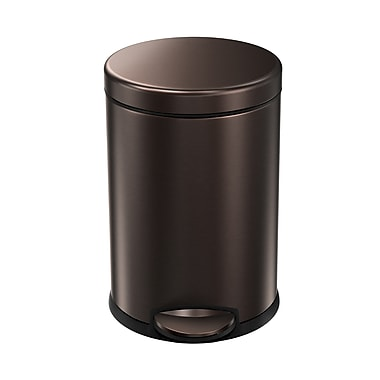 simplehuman® Mini Round Step Can, 4.5 L (1.2 gal), Dark Bronze Steel (CW2040)
