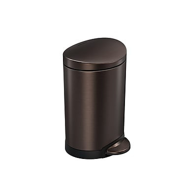 simplehuman® Mini Semi-Round Step Can, 6 L (1.6 gal), Dark Bronze Steel (CW2038)