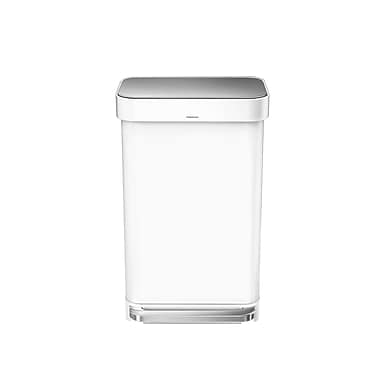 simplehuman® Rectangular Step Can with Liner Pocket, 45 L (12 gal), White Steel (CW2027)