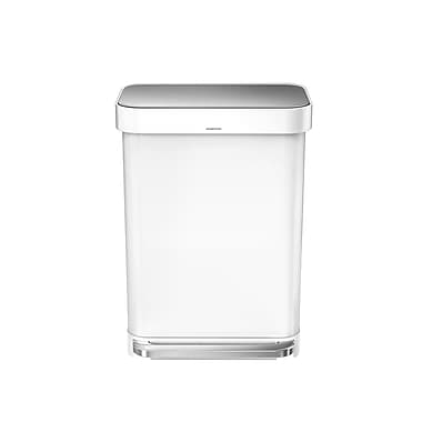 simplehuman® Rectangular Step Can with Liner Pocket, 55 L (14.5 gal), White Steel (CW2026)