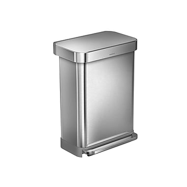 simplehuman® Rectangular Step Can with Liner Pocket, 55 L (14.5 gal), Brushed Stainless Steel (CW2023)