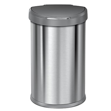 simplehuman® Semi-Round Sensor Can, 45 L (12 gal), Brushed Stainless Steel, Grey Plastic Lid (ST2010)