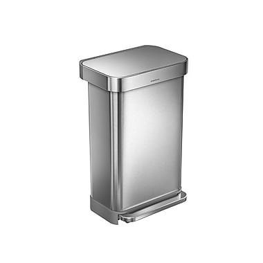 simplehuman® Rectangular Step Can with Liner Pocket, 45 L (12 gal), Brushed Stainless Steel (CW2024)