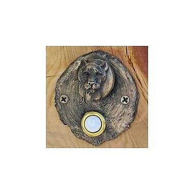 TimberBronze53,LLC Log End Cougar Doorbell Button; Basic Patina