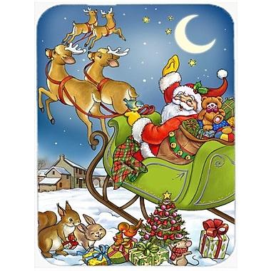 Caroline's Treasures Christmas Santa Taking Off Glass Cutting Board